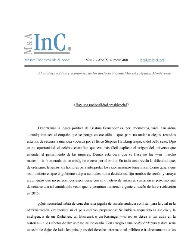 Massot / Monteverde & Asoc.           12/2/12 - Año X, número 488           inc@ar.inter.net        El análisis político y...