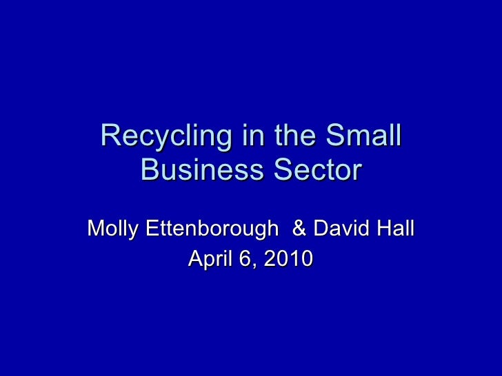 Recycling in the Small Business Sector Molly Ettenborough  & David Hall April 6, 2010