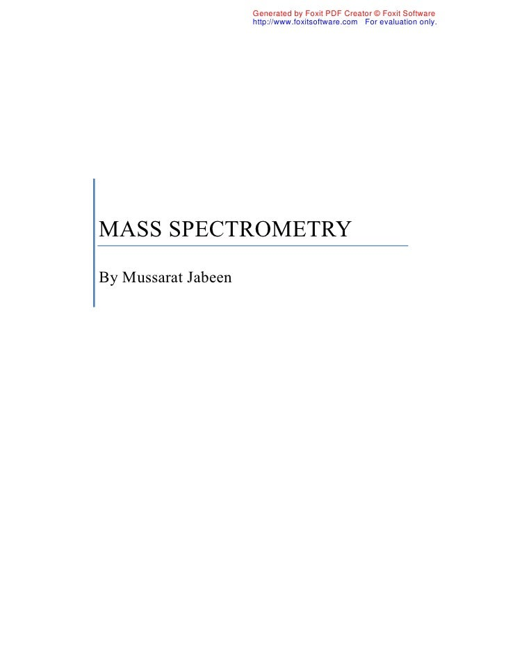 mass spectrometry for dummies pdf