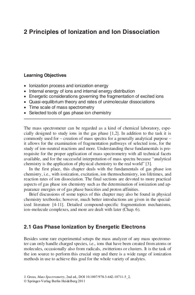 Mass spectrometry – Ionization Energy Worksheet