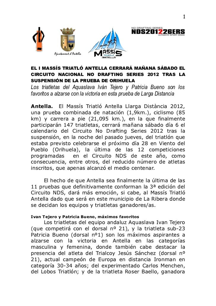 1EL I MASSÍS TRIATLÓ ANTELLA CERRARÁ MAÑANA SÁBADO ELCIRCUITO NACIONAL NO DRAFTING SERIES 2012 TRAS LASUSPENSIÓN DE LA PRU...