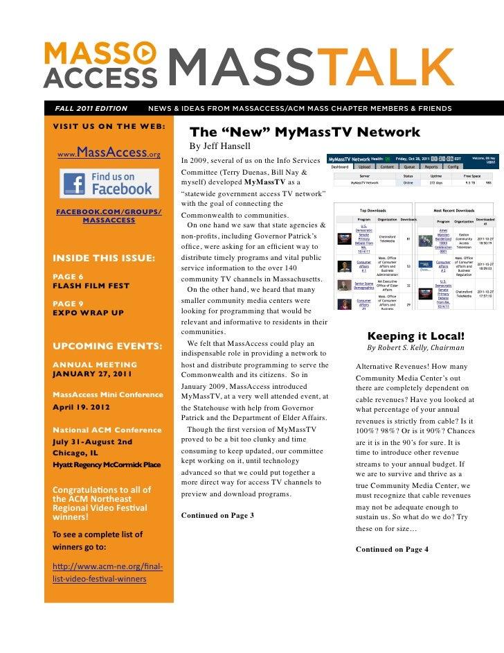 FALL 2011 EDITION                                                  MASSTALK                                               ...
