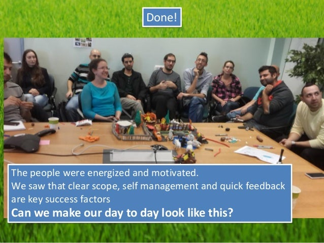 Done!  The people were energized and motivated.  We saw that clear scope, self management and quick feedback are key succe...