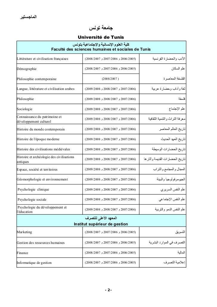 Université de Tunis                           Faculté des sciences humaines et sociales de Tunis  Littérature et civilisat...