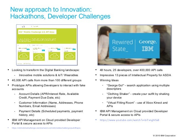 © 2015 IBM Corporation  48 hours, 25 developers, over 400,000 API calls  Impressive 13 pieces of Intellectual Property f...