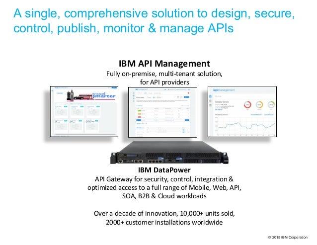 © 2015 IBM Corporation IBM API Management Fully on-premise, multi-tenant solution, for API providers IBM DataPower API Gat...