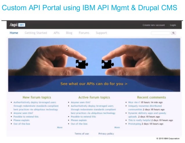 © 2015 IBM Corporation Custom API Portal using IBM API Mgmt & Drupal CMS