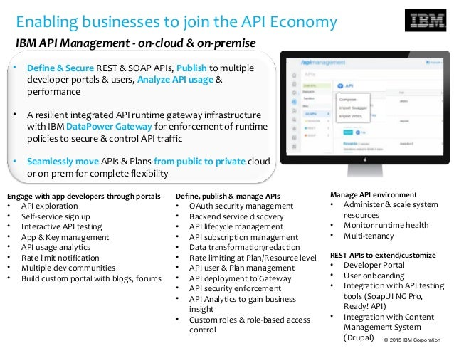 © 2015 IBM Corporation Enabling businesses to join the API Economy IBM API Management - on-cloud & on-premise Engage with ...