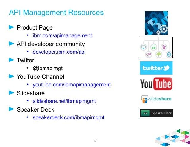 API Management Resources Product Page • ibm.com/apimanagement API developer community • developer.ibm.com/api Twitter • @i...