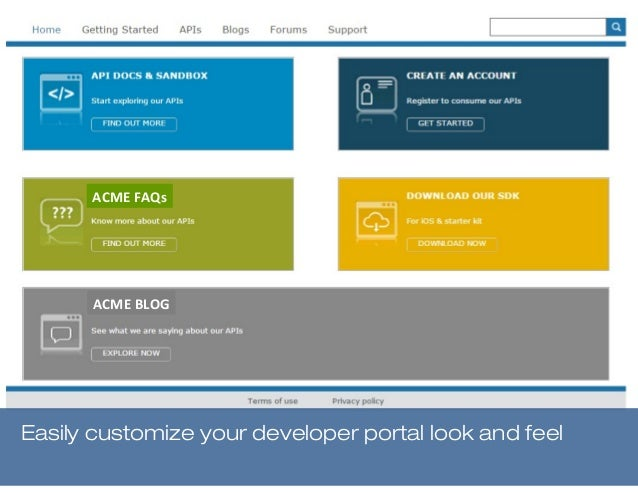 Easily customize your developer portal look and feel ACME FAQs ACME BLOG