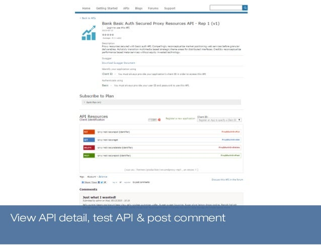 View API detail, test API & post comment
