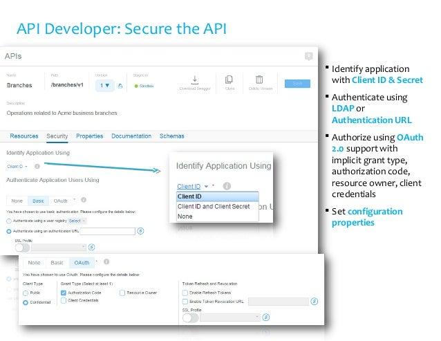 API Developer: Secure the API  Identify application with Client ID & Secret  Authenticate using LDAP or Authentication U...