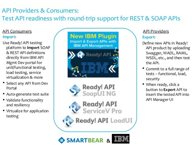 API Providers & Consumers: Test API readiness with round-trip support for REST & SOAP APIs Export: Define new APIs in Read...