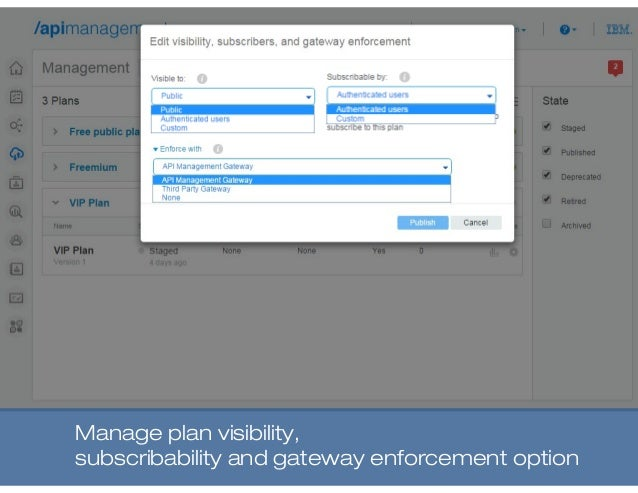 Manage plan visibility, subscribability and gateway enforcement option