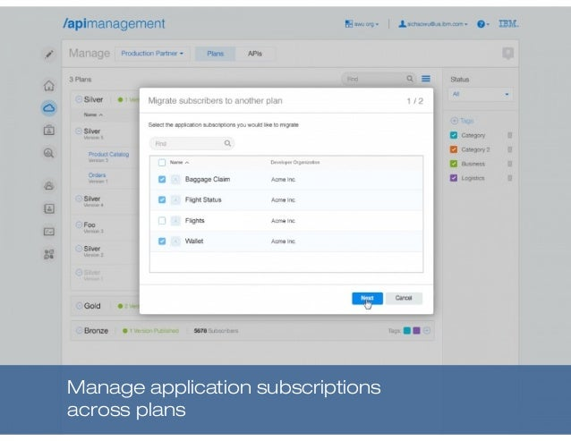Manage application subscriptions across plans