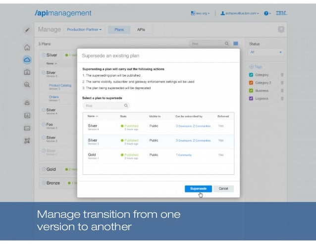 Manage transition from one version to another