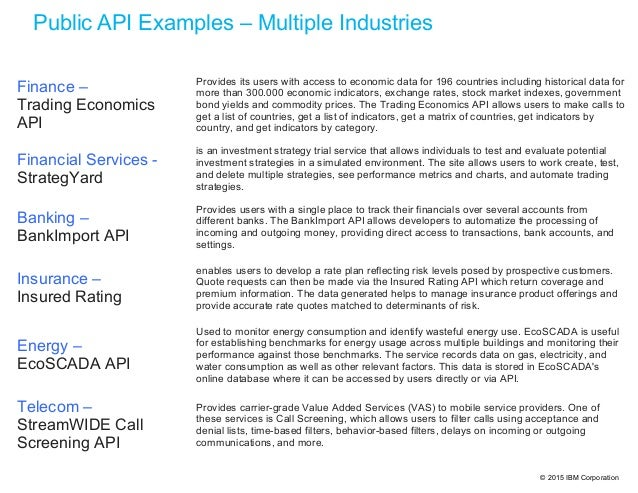 © 2015 IBM Corporation Public API Examples – Multiple Industries Finance – Trading Economics API Provides its users with a...