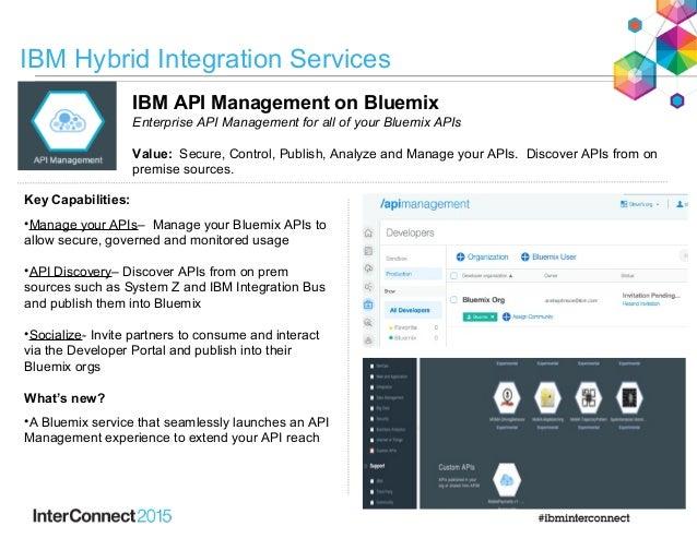 IBM API Management on Bluemix Enterprise API Management for all of your Bluemix APIs Value: Secure, Control, Publish, Anal...