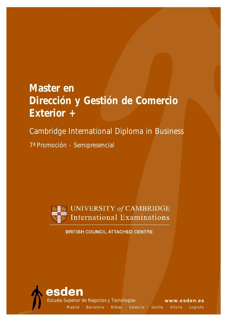 Master en Dirección y Gestión de Comercio Exterior + Cambridge International Diploma in Business 7ª Promoción - Semipresen...
