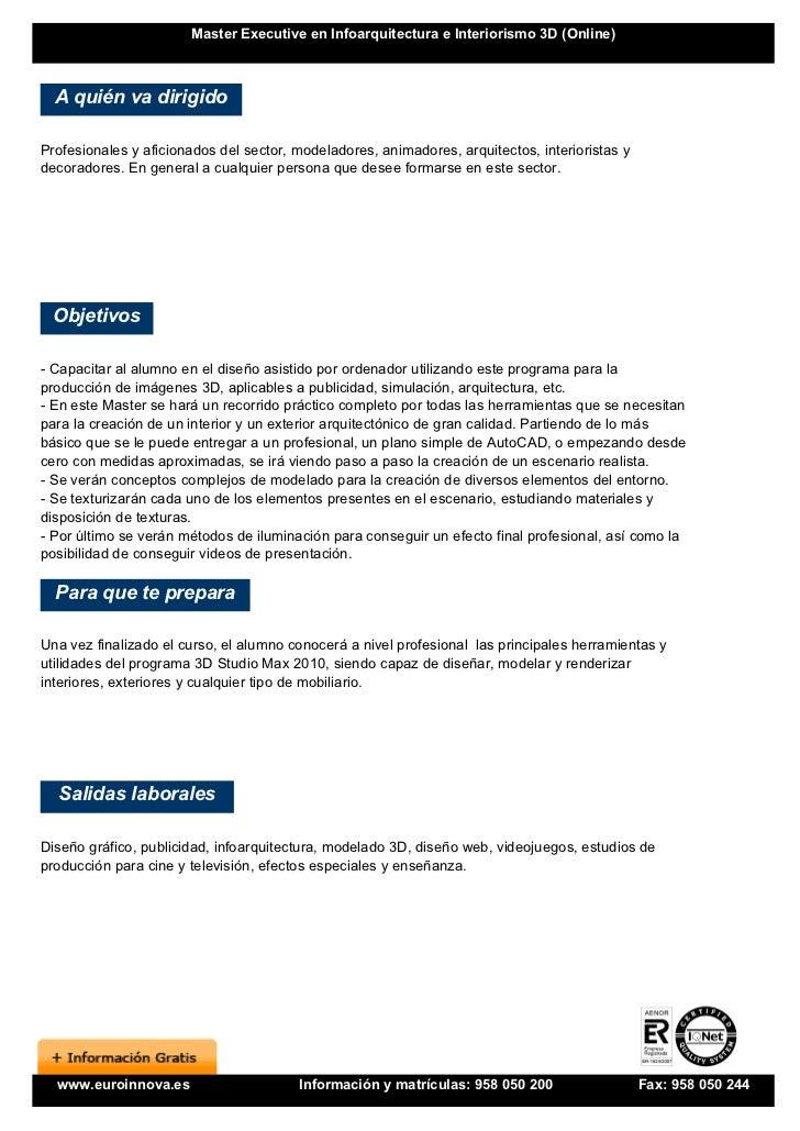 Master en infoarquitectura e interiorismo 3d online for Programa interiorismo online