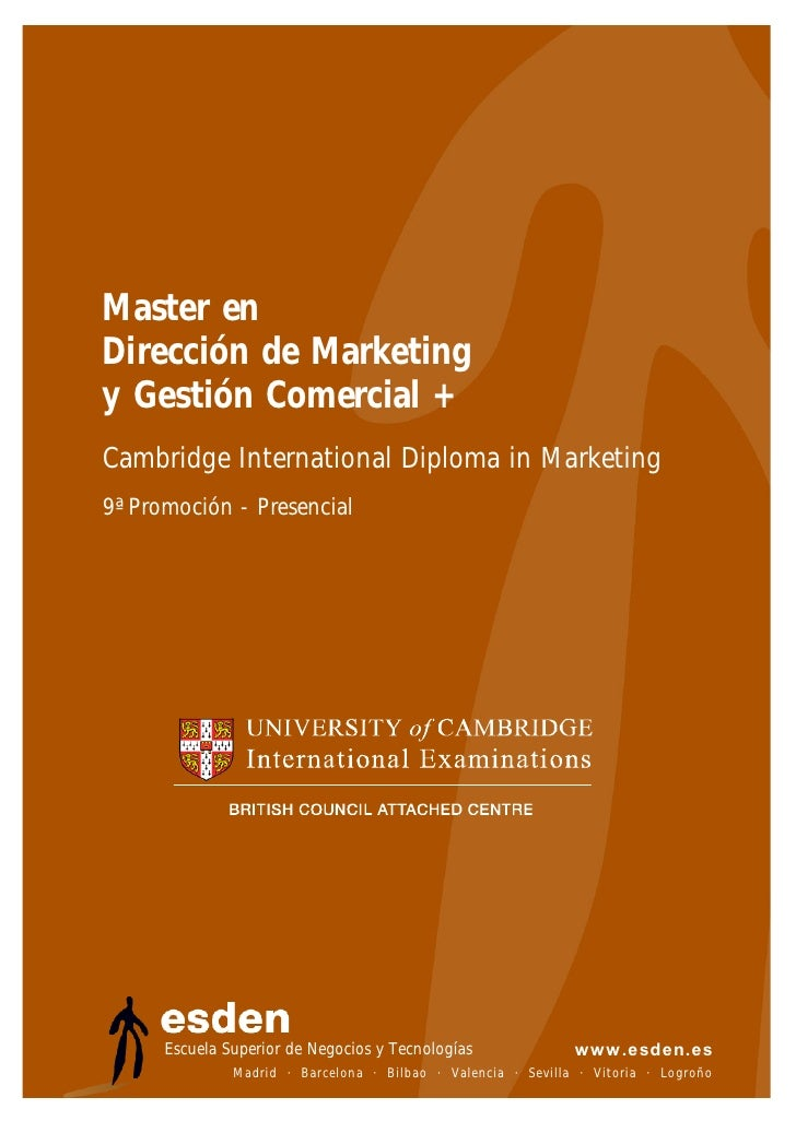 Master en Dirección de Marketing y Gestión Comercial + Cambridge International Diploma in Marketing 9ª Promoción - Presenc...