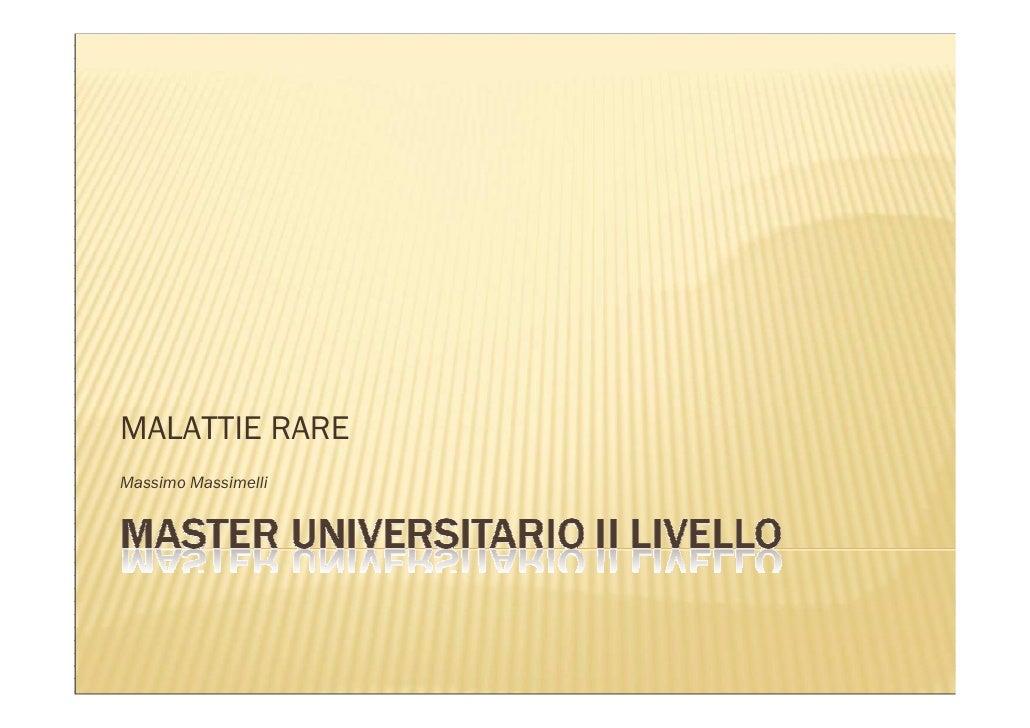 MALATTIE RARE Massimo Massimelli