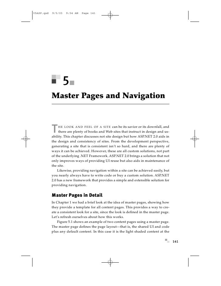 05ASP.qxd   9/5/03   9:54 AM    Page 141                          5             Master Pages and Navigation               ...