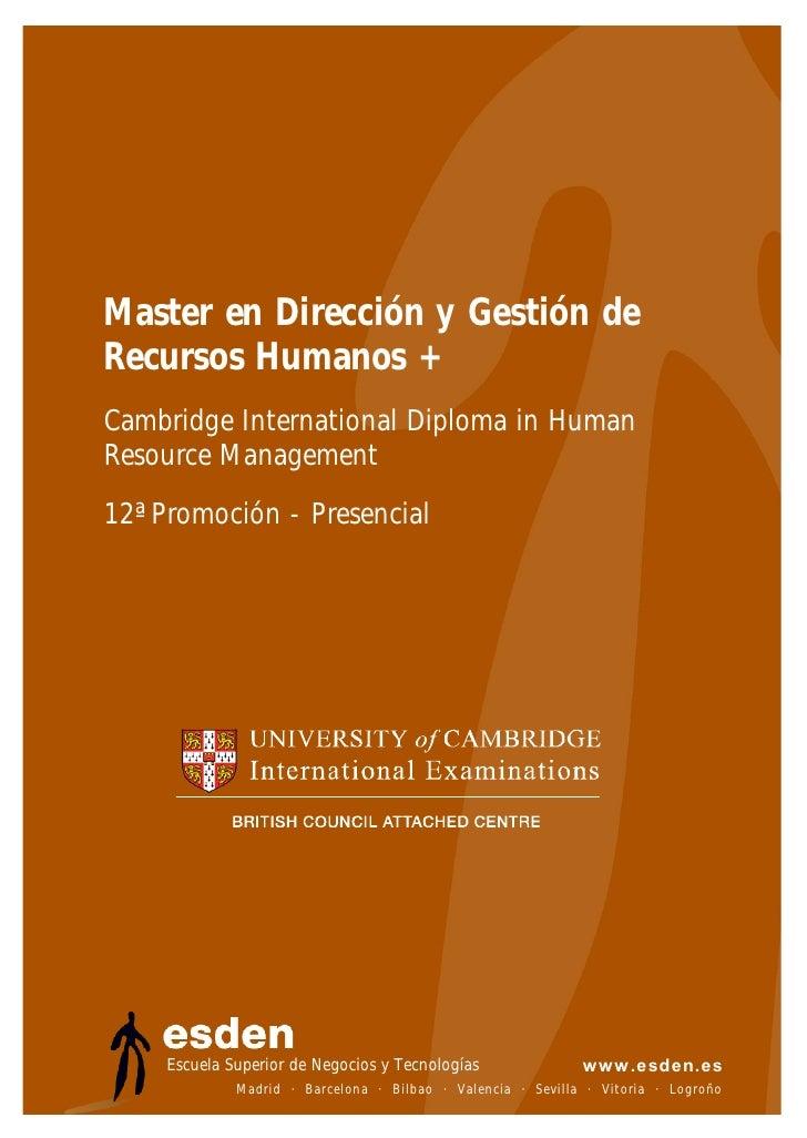 Master en Dirección y Gestión de Recursos Humanos + Cambridge International Diploma in Human Resource Management 12ª Promo...