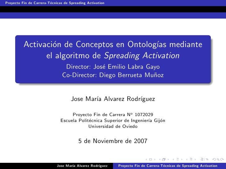 Proyecto Fin de Carrera-T´cnicas de Spreading Activation                          e               Activaci´n de Conceptos ...