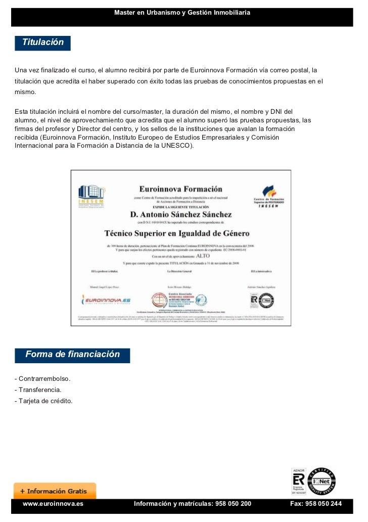 Master en urbanismo y gesti n inmobiliaria for Gestion inmobiliaria
