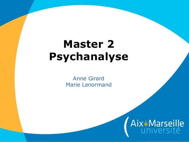 Master 2 Psychanalyse Anne Girard Marie Lenormand