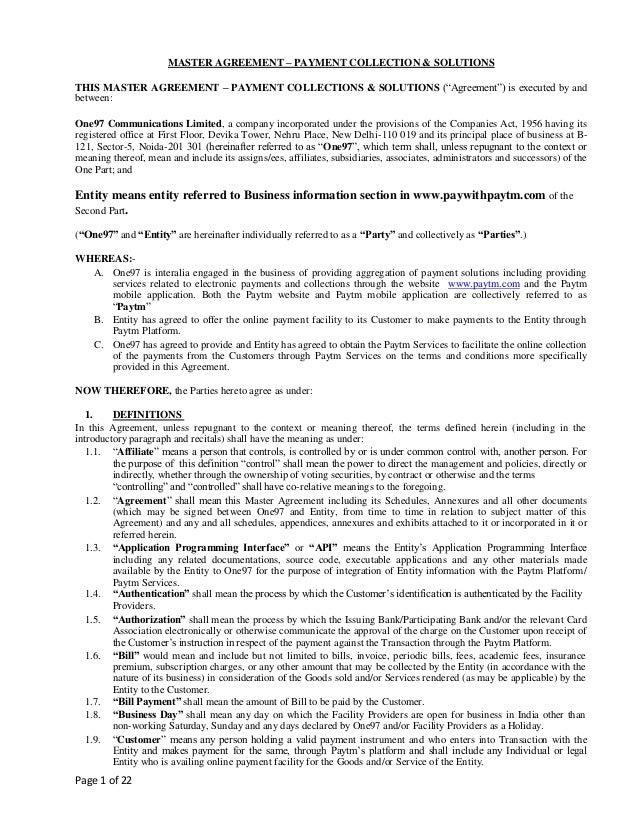 Master Agreement Diy Click Through