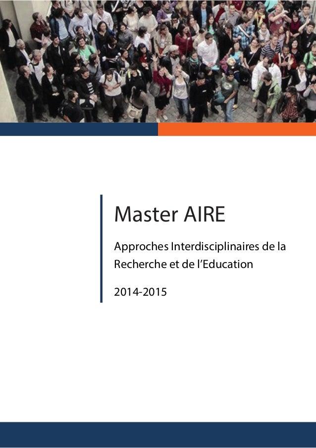 Master AIRE Approches Interdisciplinaires de la Recherche et de l'Education 2014-2015