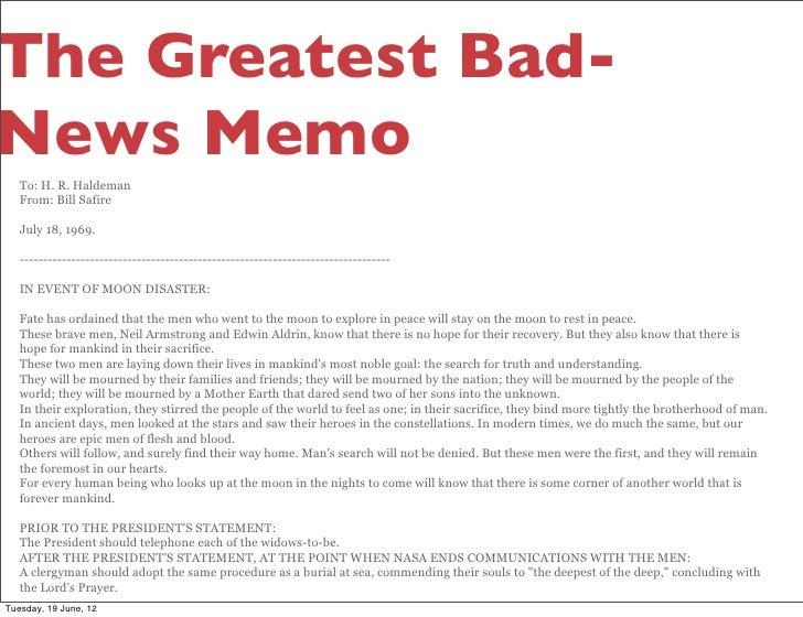 Memos giving bad news.