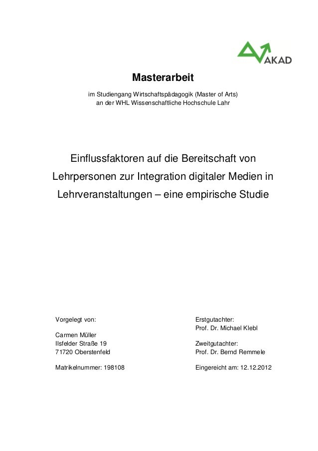 Masterarbeitim Studiengang Wirtschaftspädagogik (Master of Arts)an der WHL Wissenschaftliche Hochschule LahrEinflussfaktor...