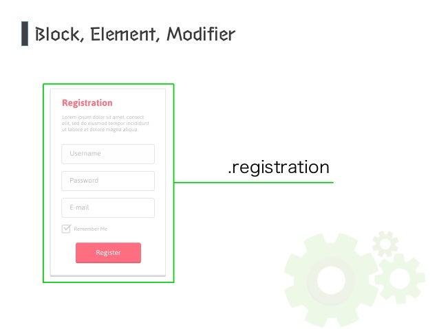 Block, Element, Modifier  .registration
