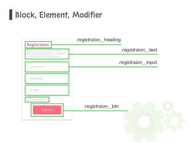 Block, Element, Modifier  .registraion__heading  .registraion__text  .registraion__input  .registraion__btn