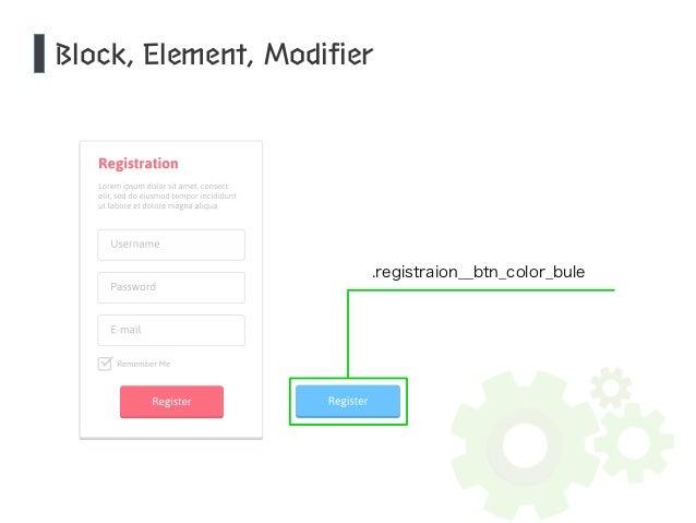 Block, Element, Modifier  .registraion__btn_color_bule