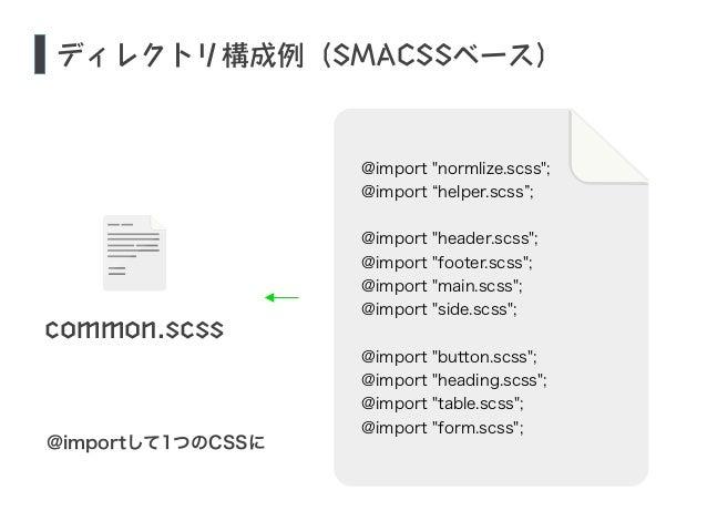 """ディレクトリ構成例(SMACSSベース)  common.scss  @importして1つのCSSに  @import """"normlize.scss"""";  @import """"helper.scss"""";  !  @import """"header...."""