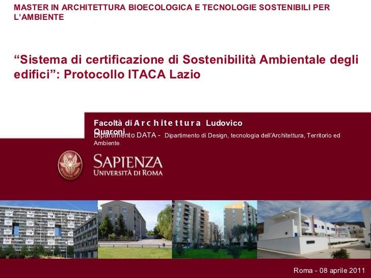 Master architettura bioecologica protocollo itaca for Master architettura