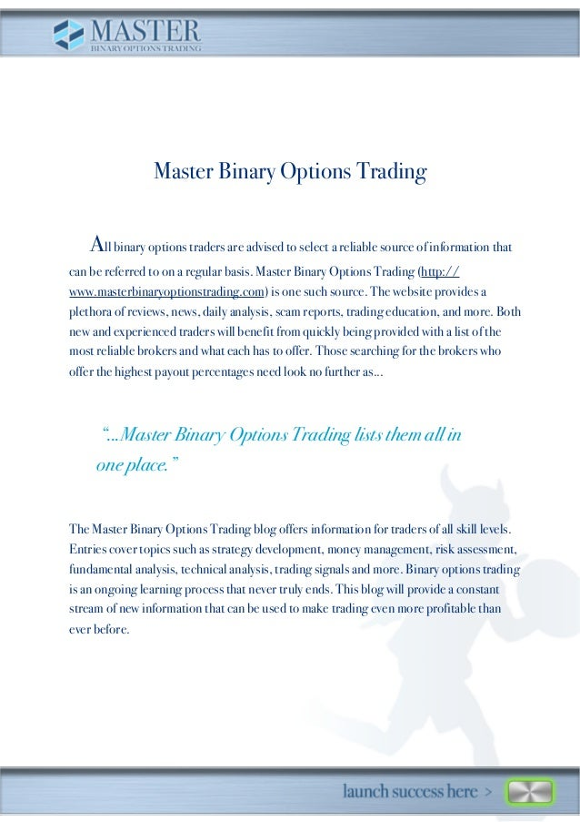 Master binary options trading