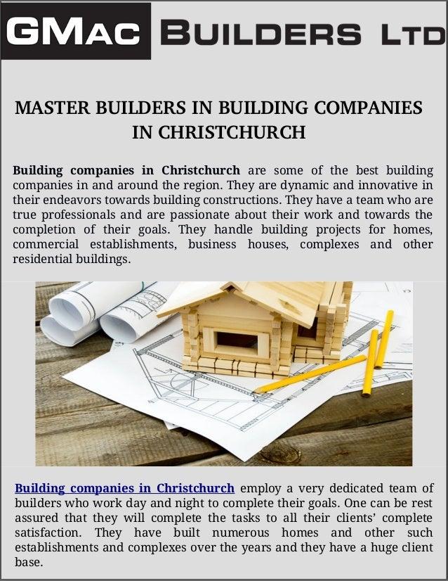 MASTERBUILDERSINBUILDINGCOMPANIES INCHRISTCHURCH Building companies in Christchurch are some of the best building com...