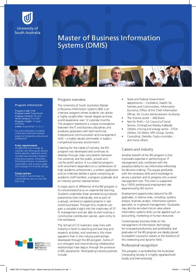 Master of Business Information Systems (DMIS)  Program overview Program information Program Code: DMIS Program Level: Post...