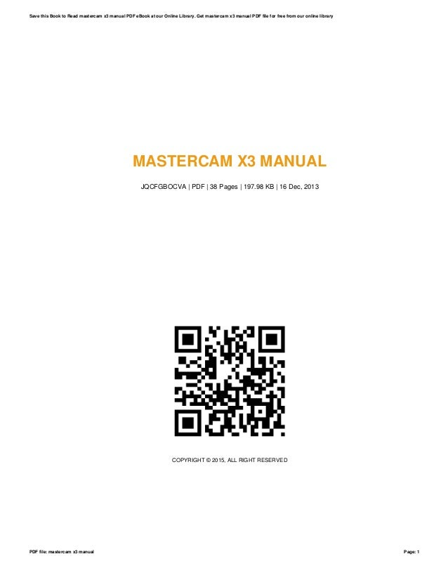 mastercam x3 manual rh slideshare net