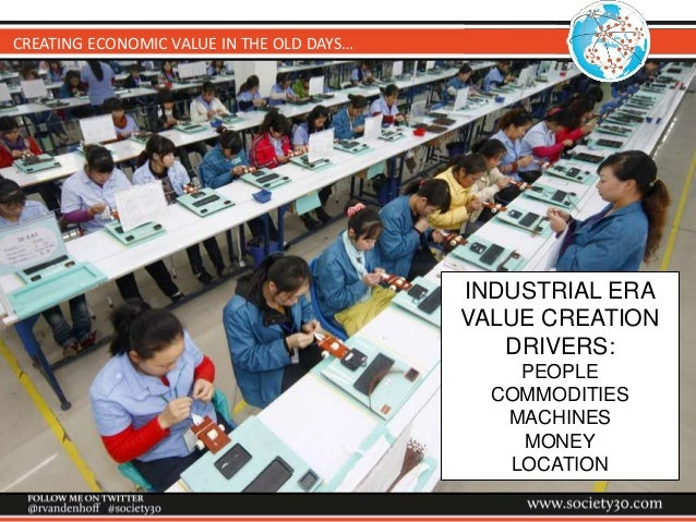 CREATING ECONOMIC VALUE IN THE OLD DAYS… INDUSTRIAL ERA VALUE CREATION DRIVERS: PEOPLE COMMODITIES MACHINES MONEY LOCATION