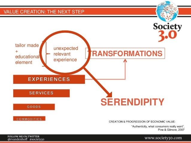 VALUE CREATION: THE NEXT STEP TRANSFORMATIONS tailor made + educational element unexpected relevant experience SERENDIPITY