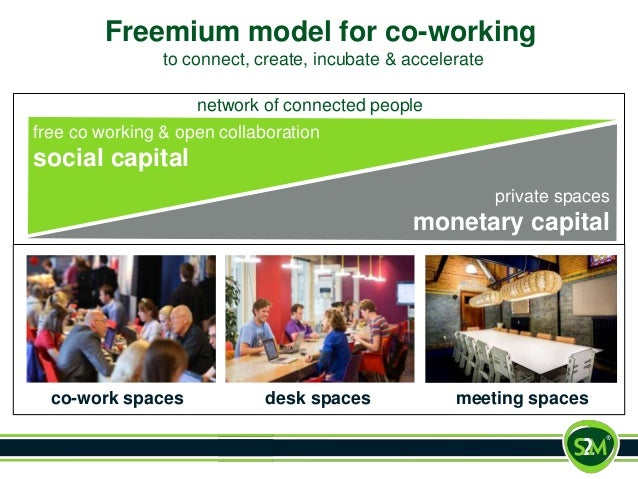 Freemium model for co-working to connect, create, incubate & accelerate private spaces monetary capital free co working & ...