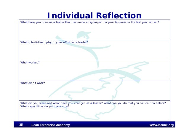 www.leanuk.org Individual Reflection What have you done as a leader that has made a big impact on your business in the las...