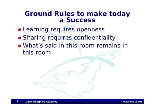 www.leanuk.org Ground Rules to make today a Success  Learning requires openness  Sharing requires confidentiality  What...