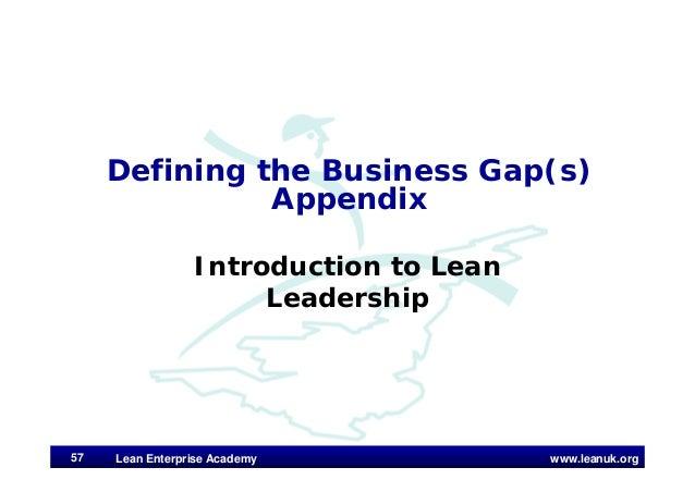 www.leanuk.org Defining the Business Gap(s) Appendix Introduction to Lean Leadership Lean Enterprise Academy57